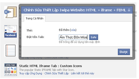 ứng dụng website trên fanPage Facebook